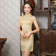 New Chinese Women Traditional Silk Dress Cheongsam Mini Qipao Design Robe Chinoise Vestido Oriental Evening Dresses Short Qi Pao