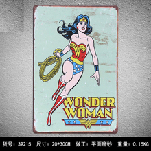Wand Decoratie Vintage WONDER WOMAN Vintage Tin Signs Retro Metal Plate Painting Wall Decoration for Bar Home Custom Neon Sign