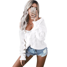 Warm Sexy White V neck Knitted Oversized Sweater Women Long Sleeve Crochet Pullover Jumper Winter Knitwear Pull Femme