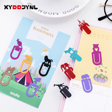 5pc/set Metal Paper Clip Cute Bookmark Escolar School Stationery Book Marks Office Marking Clips Cartoon Modeling(China)