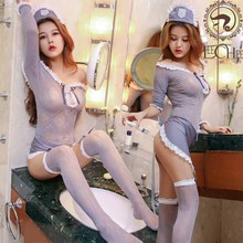 Leechee Y001 ladies sexy lengerie temptation hollow-out Cosplay erotic underwear lenceria sxeo porn costumes+ Hat+apron+socks(China)