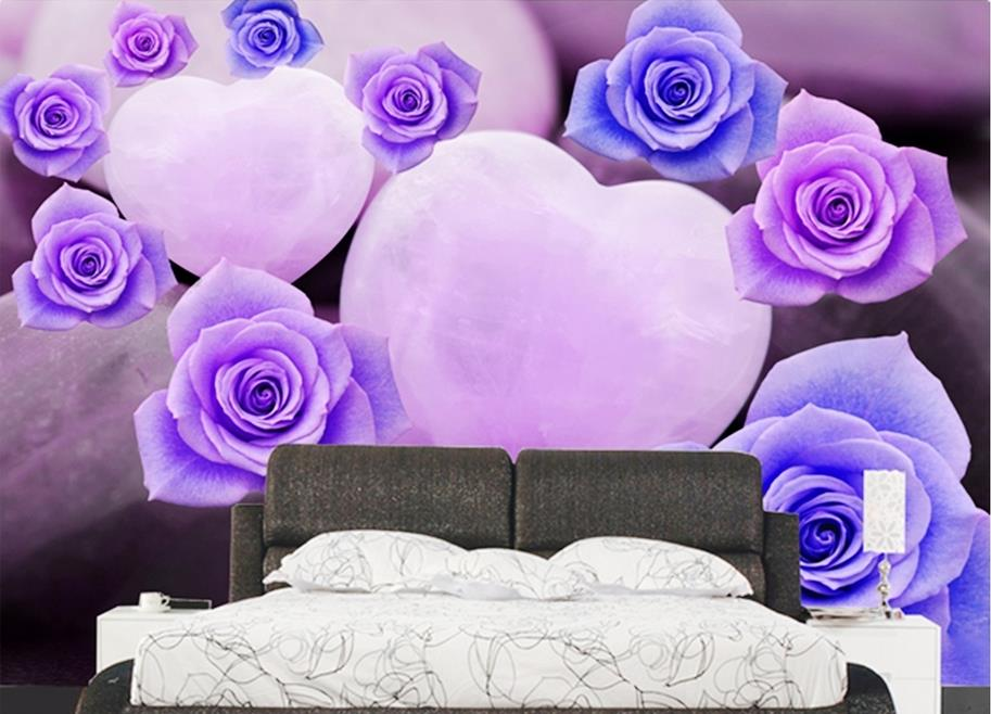 wallpaper for walls 3 d  customized photo wallpaper Purple rose background wallpapers for living room wallpaper brick wall<br><br>Aliexpress