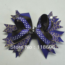 Fashion Design Navy Giraffe Printed Grosgrain Ribbon Stacked Bow Hair Clip(China)