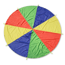1 Pc 2m Kids Outdoor Sports 8 Handle Rainbow Parachute Play Games Children Cooperation Development Umbrella Jump-sack Fun Toys
