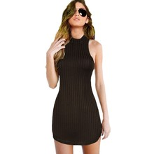 2016 Summer Women Hatler Bodycon Dress Olive Green Sleeveless Backless Sexy Mini Club Dress Fashionable Jersey vestido S-XL