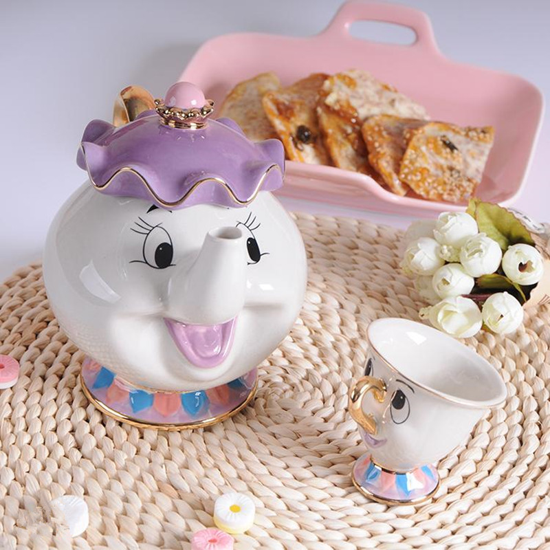 New-Cartoon-Beauty-And-The-Beast-Teapot-Mug-Mrs-Potts-Chip-Tea-Pot-Cup-One-Set (2)