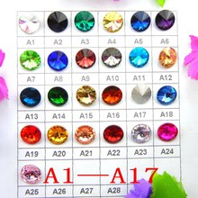 [A1-A17] 6mm 8mm 10mm 12mm 14mm 16mm 18mm Fancy colors mix Rivoli round shape Glue on glass crystal rhinestone beads trim(China)