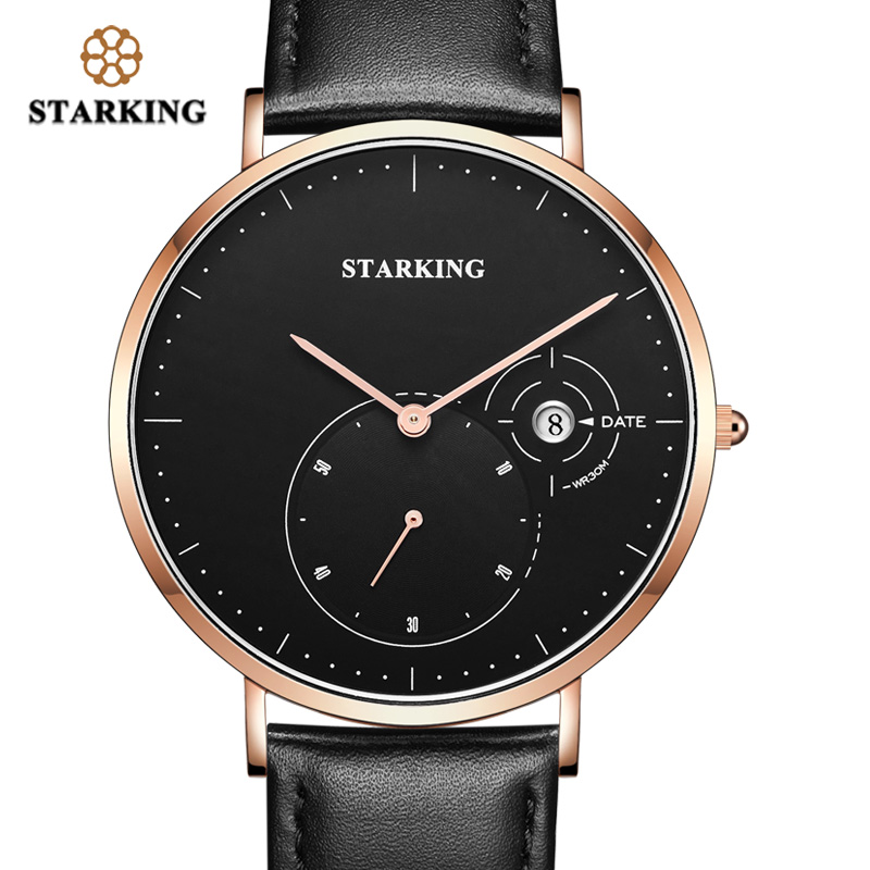 STARKING Chinese WristWatch Man 3ATM Waterproof Quartz Watch Men Calendar Genuine Leather Business Watch Male Valentine Gift Men<br>