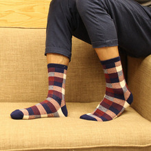 1 Pair High Quality Spring Autumn Summer Winter Cotton Men Socks Korean Classic Fashion Plaid Casual Tube Socks Best Gifts