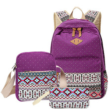 3 pcs/set Polka Dot Printing Women Backpack Cute Lightweight Canvas Bookbags Middle High School Bags for Teenage Girls, Purple