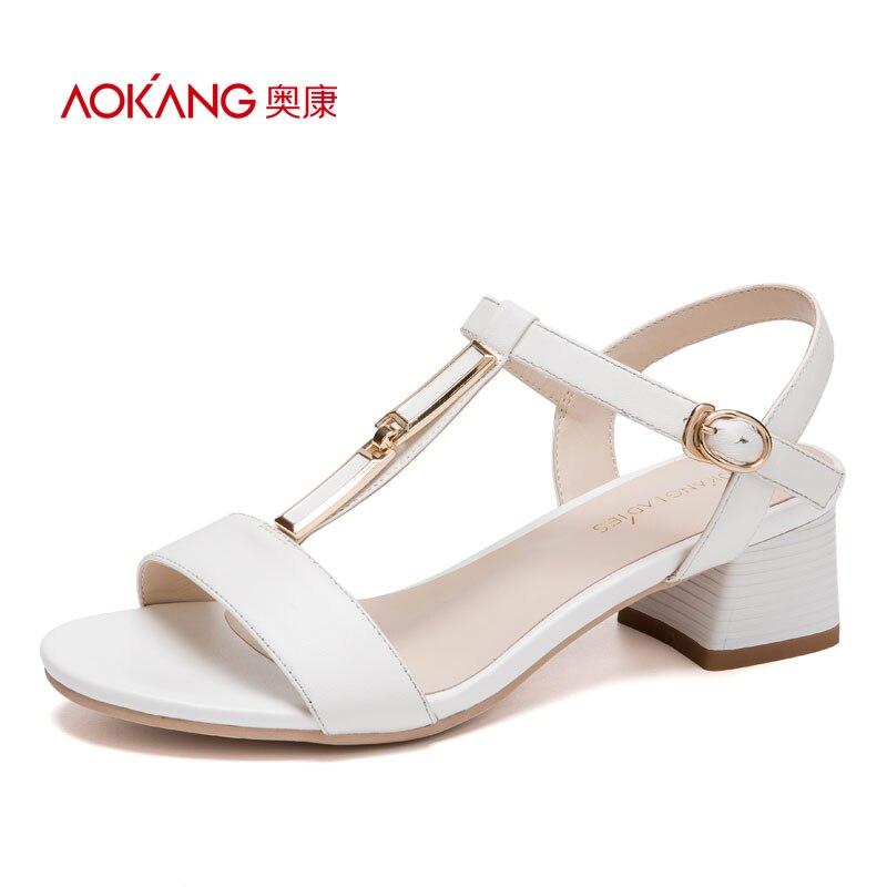 AOKANG 2017 Women Summer Shoes genuine leather shoes Fashion Summer Womens Sandals Women High heels shoes Free shipping<br>