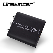 UNSTINCER Mini HD Conposite AV CVBS L/R RCA to HDMI Adapter Converter with Audio UPScaler 1080P AV2HDMI Video Converter for HDTV(China)