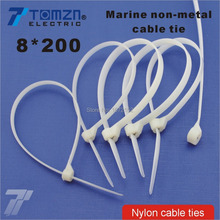 100pcs 8mm*200mm Nylon cable ties stainless steel plate locked for boat vessel with Marine non-metal(China)