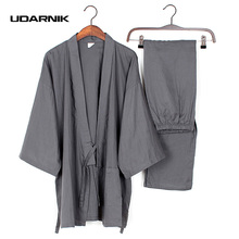 Men Cotton Long Winter Kimono Pajamas Pants Set House Coat Sleepwear Japanese 901-241(China)