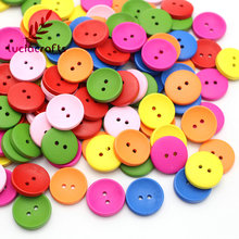 2-Holes Cartoon Wood Button Mixed Color Wooden Buttons Clothing Accessories 13011038(China)