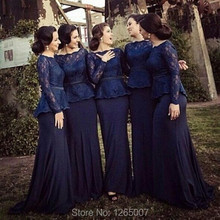 Boat Neck Long Sleeves Lace Top Ruffles Mermaid Bridesmaid Dresses 2015 Navy Blue Special Occasion Formal Party Dress
