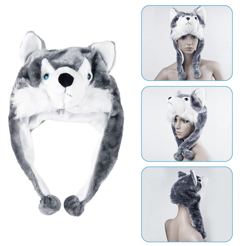 Kids Hat Wolf Animal-Style Plush Fluffy Soft Fashion High-Quality Cute Cartoon 1pcs Cap title=