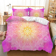 Fanaijia pink Mandala Bedding Sets Queen Size Bohemian Design Duvet Cover Set with Pillowcase twin Bed Set(China)