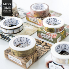 1.5CM*7M Retro Newspaper Life Washi Tape Adhesive Tape DIY Scrapbooking Sticker Label Masking Tape