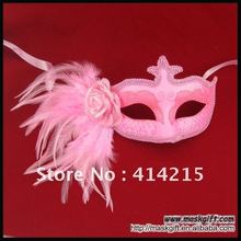 2016 Hot Wholesale Venetian Style Pink Feather Masquerade Mask for Sexy Lady