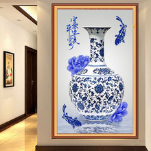 Diy Diamond Painting Blue And White Porcelain Make Peace And Prosperity Full Diamond Embroidery Chinese Style Decoration A Gift