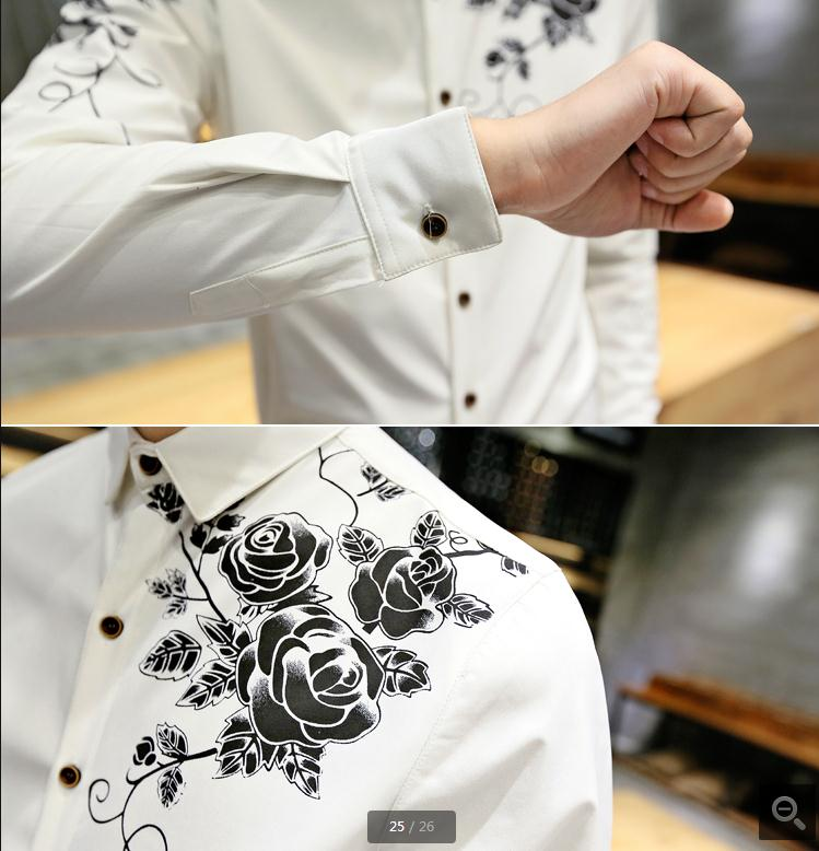 Men Dress Shirt with Gold Print Black White Long Sleeve Fashion Designer Shirt Fancy Shirts Men Floral Shirt Wedding Dress 17