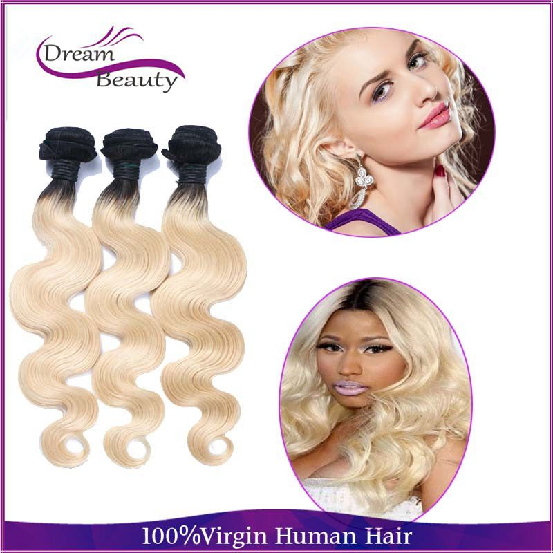 Hot Ombre Malaysian Body Wave Hair Bundles 1b 613 Blonde Virgin Hair Weave 3pcs lot 10-30 Malaysian Virgin Hair Body Wave<br><br>Aliexpress
