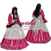 Hot Sale Custom Made Long Sleeve Princess Japanese Maid Outfit Light Rose Red PVC Dress Cosplay Party Set  Apron Costume