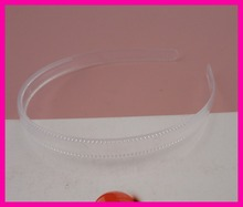 10PCS 12mm transparent white plain round face Plastic Headbands with two teeth,full clear hairbands handmade hair accessories(China)