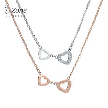 UZone Famous Brand Double Heart Necklaces 316L Stainless Steel Crystal Pendant & Necklace For Women Engagement Gift Bijoux