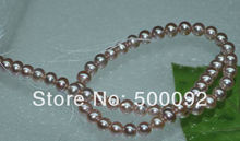 AA+Natural pearl wholesale 7-8mm purple freshwater pearl string 40cm