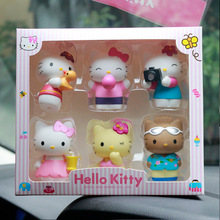 6PCS/set Cute Hello Kitty toys doll Plastic toys Car Decorative Cartoon Doll model Children's birthday presents Christmas  gift