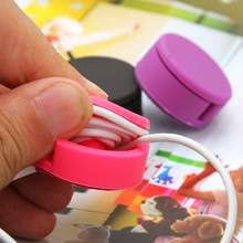 1Pcs Cute Candy-Colored Cell Phone Screen Wipe Dual Round Headphone Winder Cable Organizers Reel