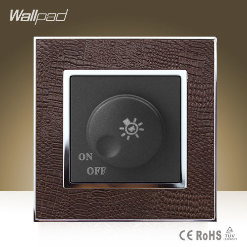 Hot Sale Wallpad Luxury 500W Dimmer Wall Switch Goats Brown Leather Rotary Lamp Dimmer Regulate Wall Switch Free Shipping<br><br>Aliexpress
