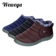 Weweya Men Snow Boots New Waterproof Ski Boots Men Solid Color Warming Fabric Ankle Boots for Male Slip-on Winter Outdoor Shoes