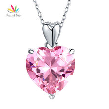 Peacock Star 925 Sterling Silver Bridesmaid Heart Pendant Necklace 5 Carat  Pink Bridal Jewelry CFN8044