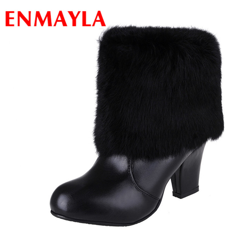 ENMAYLA New Fashion Winter Cowhide Platform Mid-Calf Boots Round Toe Square Heels Women Size 34-44 Black White Pink Boots<br>