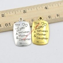 5pcs/lot The Love between Mother and Daughter is Forever Antique Silver Gold Charms Pendant Jewelry Making DIY Handmade 34x20mm