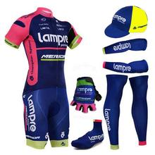 Complete set 2018 lampre team cycling jersey summer bicycle wear with arm/leg and half finger cycling gloves shoes covers(China)