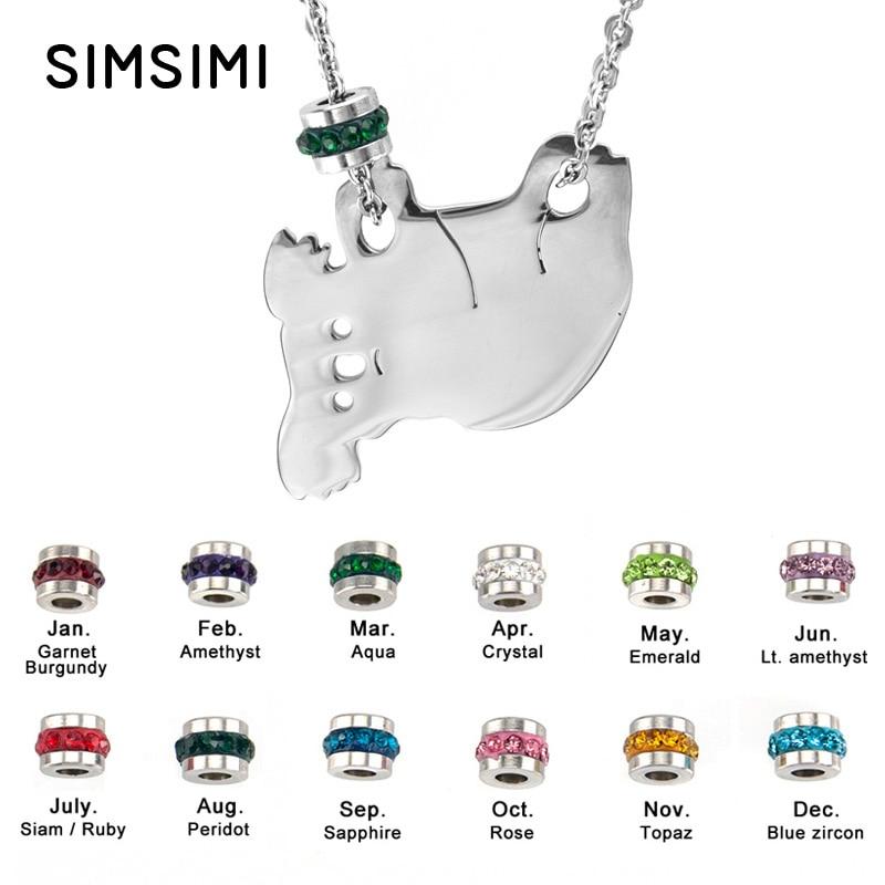 Jewellery & Watches Good Simsimi Koala Birth Stone Women Choker Necklace Stainless Steel Pendant Jewelry Rolo Chains Kolye Female Gift Necklaces 12pcs Sale Price