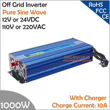 1000W Off Grid Inverter with Charger, Surge Power 2000W DC12V/24V AC110V/220V Pure Sine Wave Power Inverter with charge function