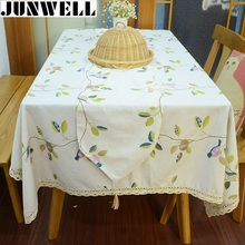Junwell Fashion Poly Linen Bird Printing Tablecloth Colorful Table Cloth Different Sizes Available