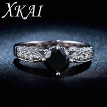 White gold color ring jewelry Black gem inlaid AAA Zircon cz stone Engagement Classic Round rings for women gifts XKR243
