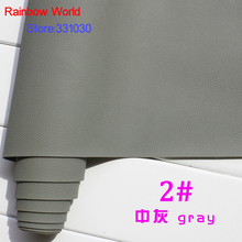 2# gray Micro Lychee Pattren high quality 1.2mm thick PU Leather fabric for DIY cars table bags bed material (140*50cm)