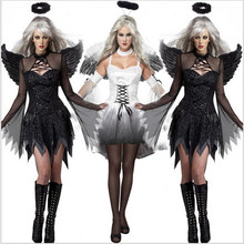 Sexy Halloween for women Adult Vampire Witch Darl White Angel Ghost Bride Scary Cosplay Costume Fancy Dress Clubwear Party Wear(China)