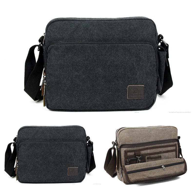 Mens Canvas Travel Book Schoolbag Laptop Cross body Messenger Shoulder Casual Business Briefcase Tool Multi-purpose Bag<br><br>Aliexpress