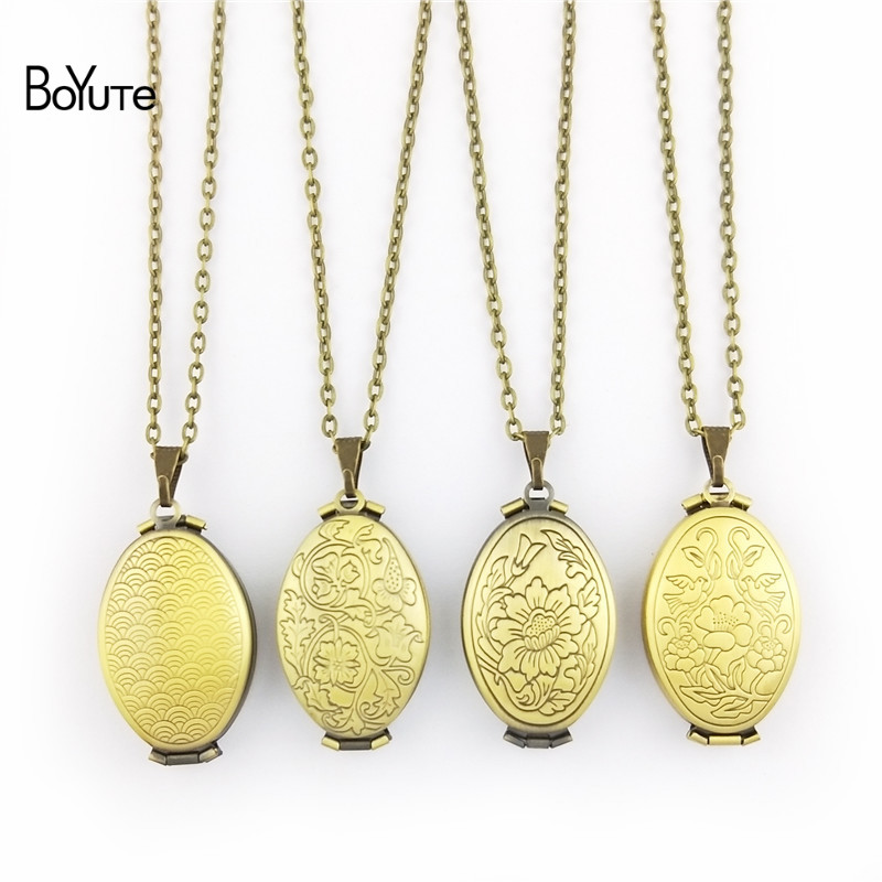 BoYuTe 1 Piece 70CM Chain 2033MM Oval Floating Locket Necklace Can Insert Photo Locket Pendant Necklace (2)