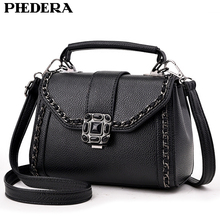 PHEDERA Brand Summer Chains Women Messenger Bags Fashion PU Leather Small Female Ladies Tote Handbags Black Women Crossbody Bag(China)