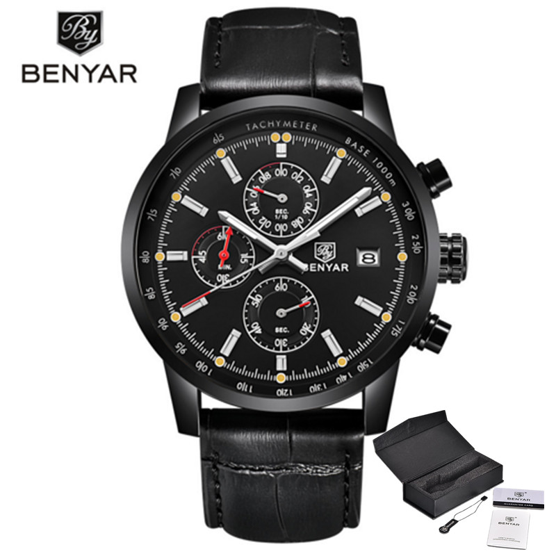 BENYAR Fashion Casual Mens Watches Luxury Brand Leather Chronograph Quartz Watch Men Waterproof Wristwatch Relogio Masculino<br>
