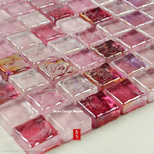Free shipping Glaze Pind Red Crystal Glass Mosaic Tile for bathroom wall border stairs porch kitchen wall Outdoor Floor Tile(China)